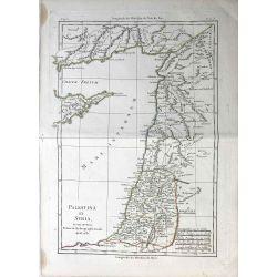 1781 Bonne, Palestine et Syrie / Palestina et Syria. carte ancienne, antiquarian map, landkarte.
