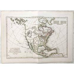 1781 Bonne, Amérique du Nord, United States. carte ancienne, antiquarian map, landkarte.