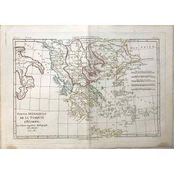 1781 Bonne, Turquie d'Europe, partie méridionale. carte ancienne, antiquarian map, landkarte.