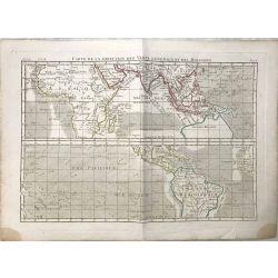 1790 Bonne, Direction vents généraux et moussons. carte ancienne, antiquarian map, landkarte.