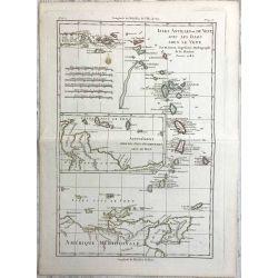 1782 Bonne, Antilles, Iles sous le Vent. carte ancienne, antiquarian map, landkarte.