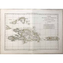 1782 Bonne, Saint-Domingue et Porto Rico. carte ancienne, antiquarian map, landkarte.