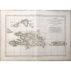 1782 Bonne, Saint-Domingue et Porto Rico. carte ancienne, antiquarian map, landkarte.