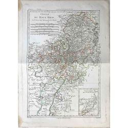 1787 Bonne, Cercle du Haut Rhin / Oberrhein. carte ancienne, antiquarian map, landkarte.