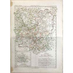 1788 Bonne, Cercle du Bas Rhin / Niederrhein. carte ancienne, antiquarian map, landkarte.