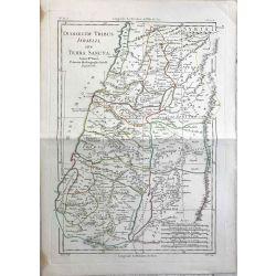 1781 Bonne, Tribus d'Israel et Terre Sainte. carte ancienne, antiquarian map, landkarte.