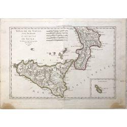 1789 Bonne, Naples, partie meridionale, Napoli, Sicile, Sicilia. carte ancienne, antiquarian map, landkarte.