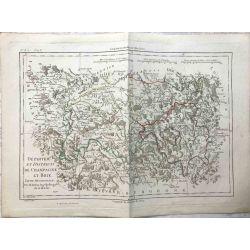1790 Bonne, Champagne et Brie, partie méridionale. carte ancienne, antiquarian map, landkarte.