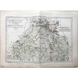 1790 Bonne, Champagne et Brie, partie septentrionale. carte ancienne, antiquarian map, landkarte.