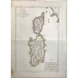 1790 Bonne, Corse et Sardaigne. carte ancienne, antiquarian map, landkarte.