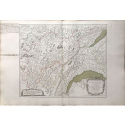 1749 Vaugondy, carte ancienne, antiquarian map, landkarte, France, Franche-Comté de Bourgogne, lac de Geneve