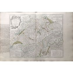 1756 Vaugondy, Suisse / Schweiz, carte ancienne, antiquarian map, landkarte, kupferstich