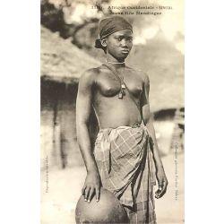 CPA jeune fille Mandingue, Senegal, Afrique Occidentale, nu ethnique, Fortier, 1180