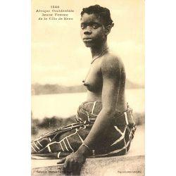CPA Jeune femme de la cote de Kroo, Afrique Occidentale, Fortier, nu ethnique, 1340.