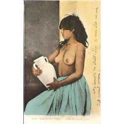 CPA, Jeune Mauresque, seins nus, scenes et types, Lehnert & Landrock, 6598.
