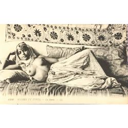 CPA, La sieste, seins nus, scenes et types, Lehnert & Landrock, 6300 .