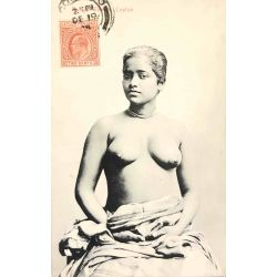 CPA Rodiya woman, Nu ethnique, Ethnic nude, platé ceylon 374.