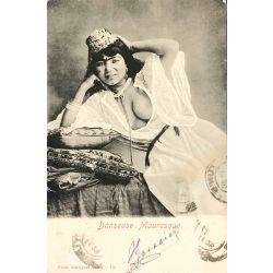 CPA, Danseuse Mauresque, sein nu, Garrigue Tunis, 112
