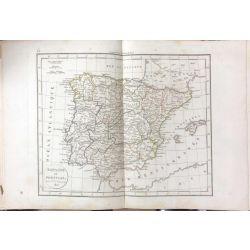 1823 Delamarche, ESPAGNE ET PORTUGAL, carte ancienne, antiquarian map, landkarte, kupferstich