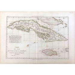 1782 Bonne, Cuba et Jamaïque, Caraïbes. carte ancienne, antiquarian map, landkarte, kupferstich.