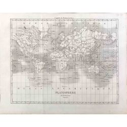 1800 Duvotenay, Planisphere, Mappemonde, Worldmap. carte ancienne, antiquarian map, landkarte, stahlstich.