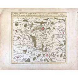 1750 Vaugondy, Comté de Hainaut, Belgique, carte ancienne, antiquarian map, landkarte, kupferstich