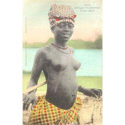 CPA Jeune Agni, Afrique Occidentale, Nu ethnique, Fortier 1153, lettre N' Zerékoré, A.O.F. Guinée