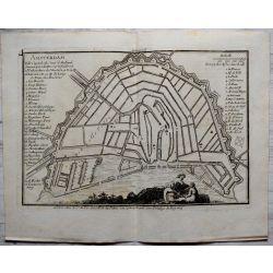 1693 AMSTERDAM, fortifications-carte-ancienne-antiquarian-map-landkarte-kupferstich-n-de-fer