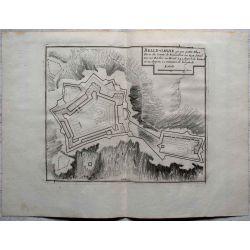 1694 BELLE-GARDE, place forte en Roussillon-carte-ancienne-antiquarian-map-landkarte-kupferstich-n-de-fer
