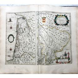 c1645 BLAEU, Carte ancienne, hand coloured Antique Map, Bourdelois Medoc et La principaute de Bearn, principatus bearnia.