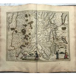 c1645 BLAEU, Carte ancienne, hand coloured Antique Map, Lac de Geneve, Bressia Vulgo Bresse.