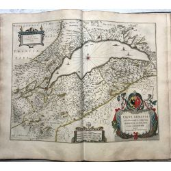 c1645 BLAEU, Carte ancienne, hand coloured Antique Map, Lac de Geneve, Lacus Lemanni.
