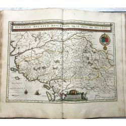 c1645 BLAEU, Carte ancienne, hand coloured Antique Map, Picardie, Pictaviae Ducatus Descriptio Pais de Poictou,  isle de re, isle d'oleron.