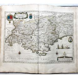 c1645 BLAEU, Carte ancienne, hand coloured Antique Map, Provence Provincia autore Petro Johanne Bompario .