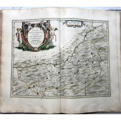 c1645 BLAEU, Carte ancienne, hand coloured Antique Map, Dioecesis Sarlatensis vernacule le dioecese de Sarlat, Johannus Tardo