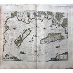 c1645 BLAEU, Carte ancienne, hand coloured Antique Map, L'isle de Ré et Oleron, Insulae divi Martini et vliarus vulgo.