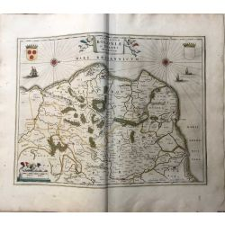 c1645 BLAEU, Carte ancienne, hand coloured Antique Map, Boloniae et Guines, Boulogne