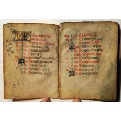 14 pages d'un calendrier 15ième Manuscrit manuscript parchemin,livre d'heures enluminures la15