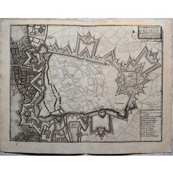 1694 CAMBRAI, ville forte-carte-ancienne-antiquarian-map-landkarte-kupferstich-n-de-fer
