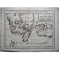 1726, Carte ancienne, antiquarian Map, isles Rhodiennes , histoire de MALTE