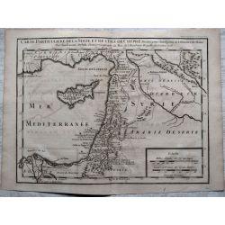 1726, Carte ancienne, antiquarian Map, CHYPRE,CYPRUS, SYRIE , histoire de MALTE