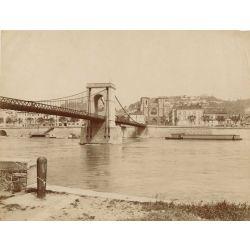 colombe les vienne le pont et le quais, vintage albumen print, old photo, tirage argentique albuminé,1880/90, N.D.Phot.,Neurdein.