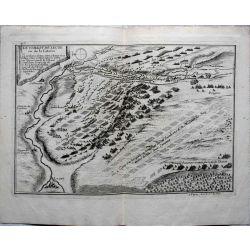1693 carte geographique ancienne, antiquarian map,  Le combat de Leuze ou de la Catoire, N. de Fer.