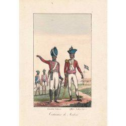 Lithographie, costumes de Madras,1826, Comte de Noe, joliement coloriée