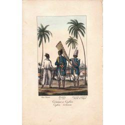 Lithographie, costumes de Ceylan,1826, Comte de Noe, joliement coloriée