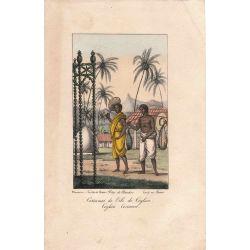 Lithographie, costumes ile ceylan,1826, Comte de Noe, joliement coloriée