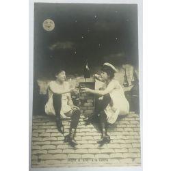 CPA  4 cartes argentique, serie,fantaisie, femmes nue,NUIT d'ETE, 4 antique postcards, Nude.