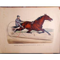 Trotting horse,gelding, CLINGSTONE, Currier & Ives, chevaux, print, Litho
