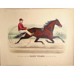 1885 Trotting horse HARRY WILKES  ,Currier & Ives, chevaux, print, Litho