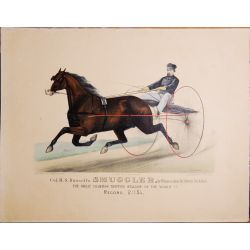 1876 Trotting horse,Russel's SMUGGLER, Currier & Ives, chevaux, print, Litho